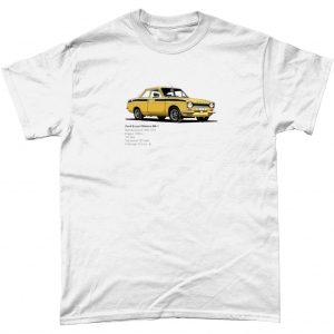 Gildan Heavy Cotton T-Shirt Ford-Escort-Mexico-Mk-1-Black-text-